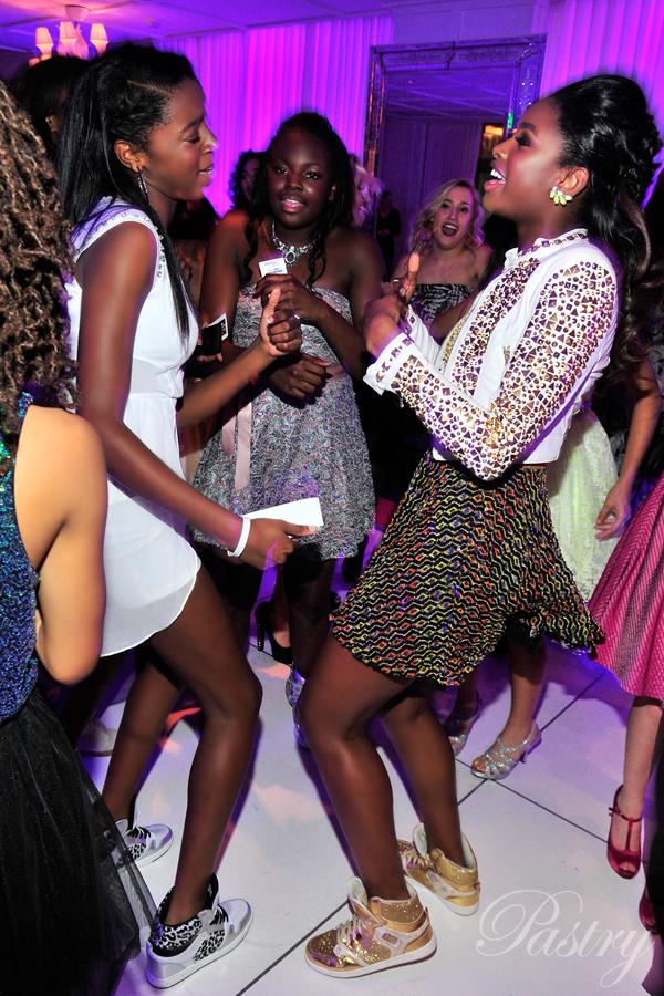 Coco dancing in her Gold Glam Pie Glitters with her friends at her Sweet 16